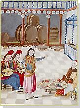 Karikatürize Edilmiş Bir Osmanlı Saz Heyeti Görüntüsü.