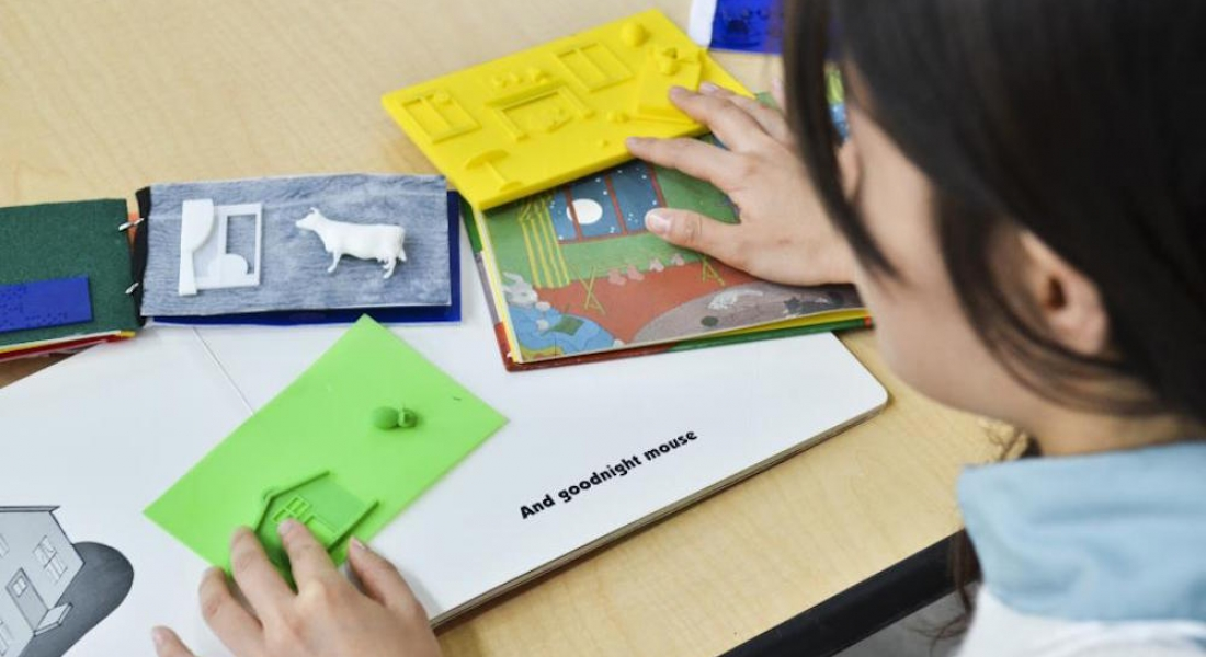 Üç Boyutlu Hazırlanmış Kabartma Kitapları İnceleyen Görme Engelli Bir Öğrenci Görüntüsü.